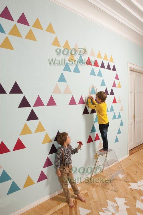 Vinyl art wall sticker, triangle pattern wall decal, diy home ...
