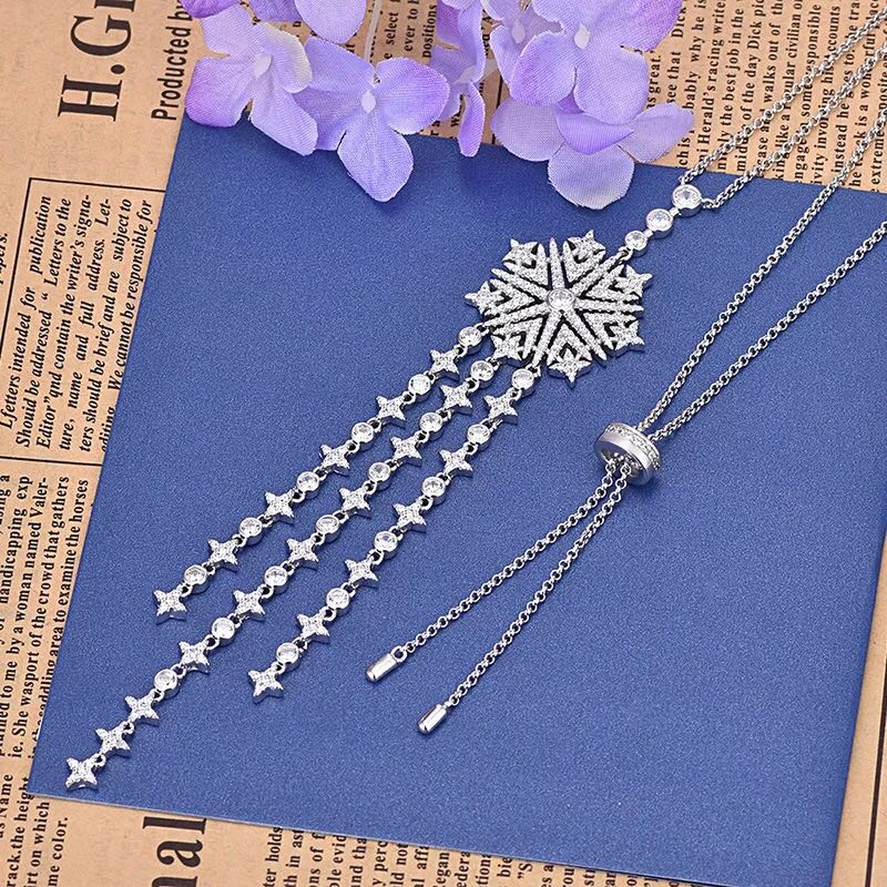 Paris designer hot brand S925 sterling silver tassel long necklace ladies Korean luxury charm ladies fashion