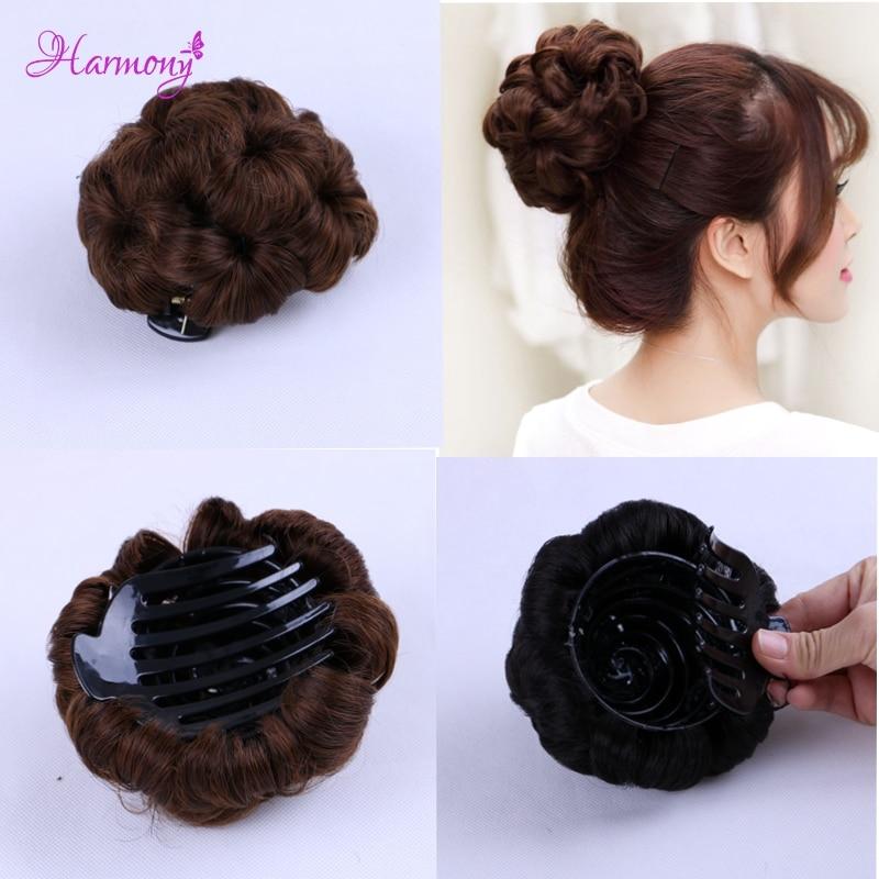 Curly Hair Bride Makeup Bun Blommor Chignon Claw på Ponytail - Hårvård och styling - Foto 1