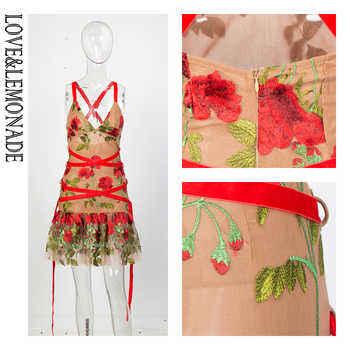 Love&Lemonade Nude Deep V-Neck Ruffled Decorative Mesh Embroidery Material Straps Going Out Dress LM81683