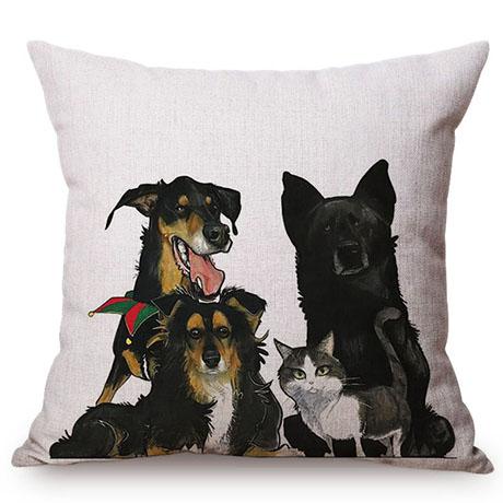 Pet Dog Animals Funny Style Cushion Cover Dachshund Schnauzer Dog Children Like Cotton Linen Sofa Decorative Throw Pillow Case M110-11