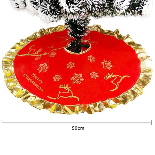 Us 3 99 36in Red Christmas Tree Skirt Carpet Party Gold Stamping New Year Xmas Tree Carpet Ornaments Christmas Home Outdoor Decorations In Tree