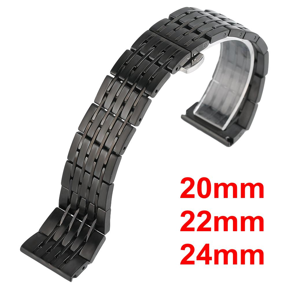 20mm/22mm/24mm Stainless Steel Watch band Strap Bracelet Watchband Wristband Push Button Hidden Clasp Black high quality stainless steel bracelet watchband strap for fitbit alta watch band wristband replacement band strap