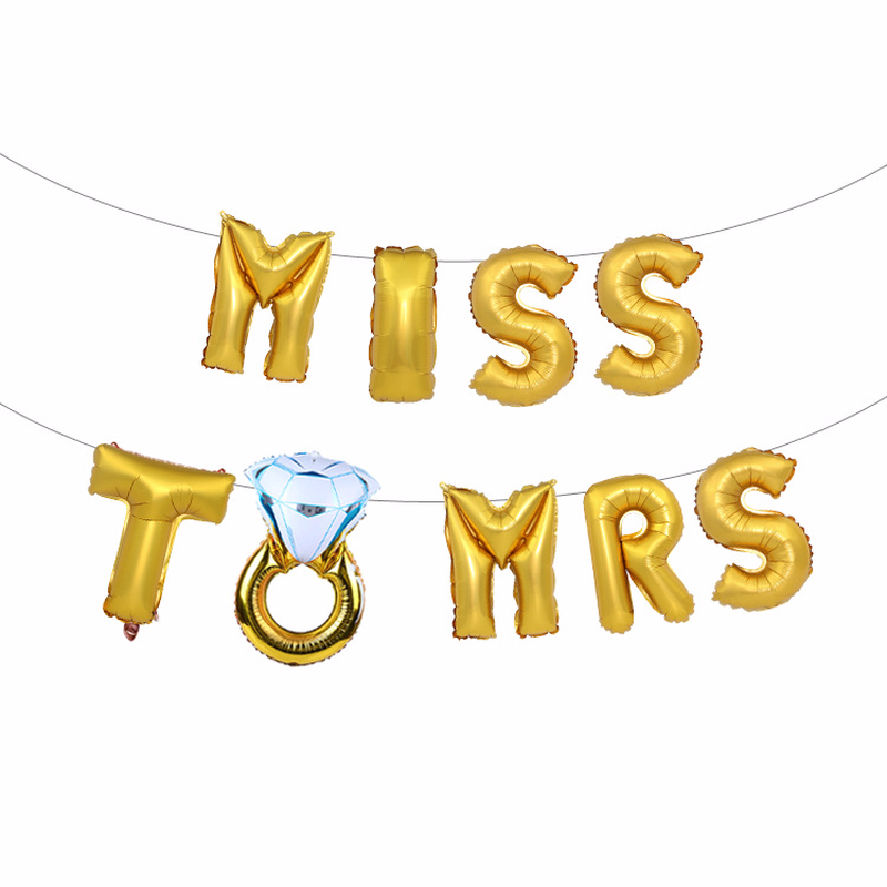 16 inch rose gold miss to mrs letter balloons, marriage proposal supplies, engagement decoration accessories.
