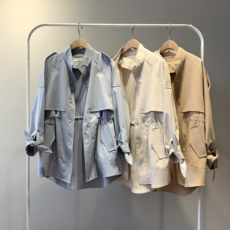 2019 Spring Women   Trench   Coat Single Breasted Loose Elastic Waist Korean Casual Harajuku Windbreaker Long Coat Female Tops R194