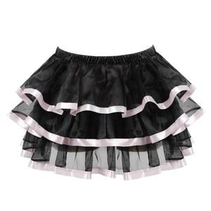 Image 5 - Sexy lace corsets for women plus size costume overbust vintage corset dress set tutu corselet victorian corset skirt Pink