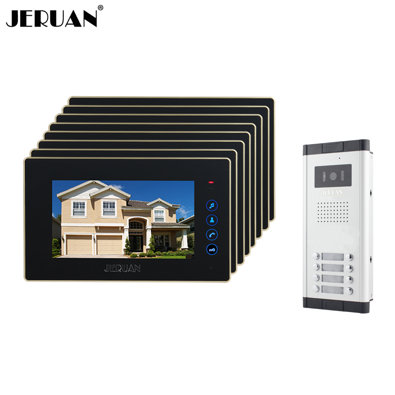 JERUAN Brand New Apartment Intercom 7`` Touch key LCD Video Door Phone intercom System + 8 monitors+ 700 TVL Camera for 8 houses new apartment doorbell intercom 7 lcd touch key video door phone intercom system 1camera 10 monitors for 10 house free shipping