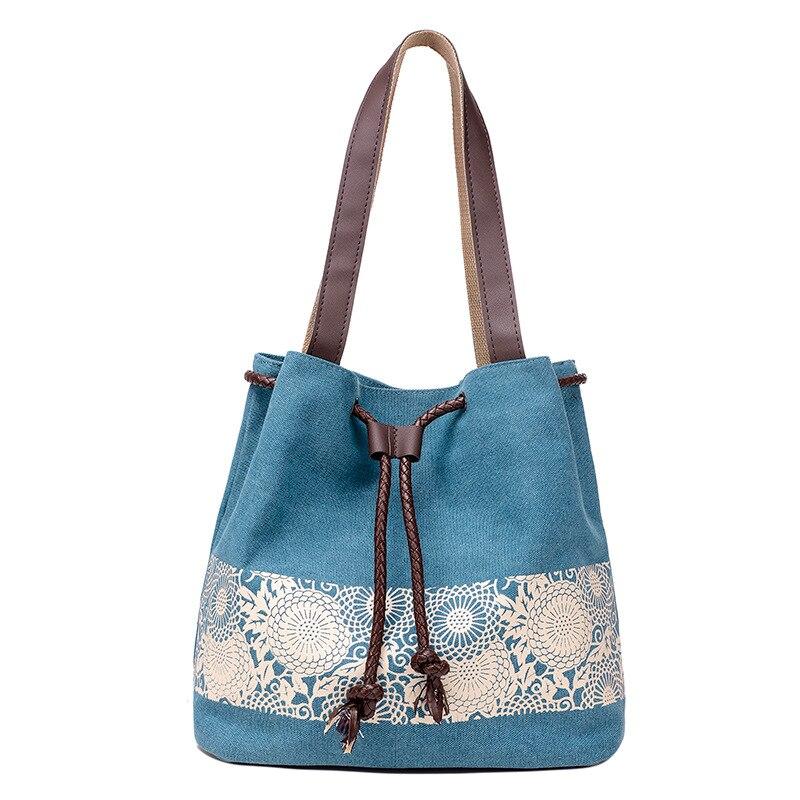 AFBC Floral Canvas Bucket Shoulder Bag Bucket Bag Drawstring Shoulder Bag Cross Body Bag Beach Handbag Summer
