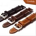 Handmade 18mm / 19mm / 20mm / 21mm / 22mm Black Brown Calf  Leather Men Women Watch Strap, Retro General Watchbands
