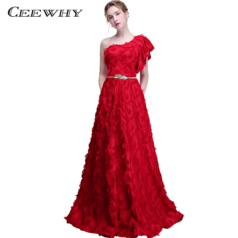 Evening Dresses Ceewhy Vestido De Festa One Shoulder Evening Dress With Belt Tassel Novelty Formal Dress Burgundy Red Evening Gowns With Pocket Rich In Poetic And Pictorial Splendor