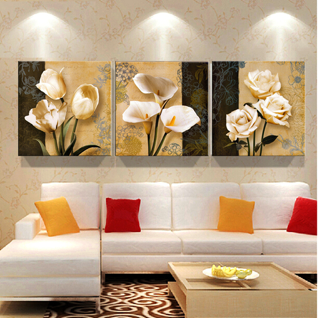 Free Shipping Beautiful Calla Lily Flowers Wall Painting 3pcs Cheap Modern  Art Deco Mural Picture Home