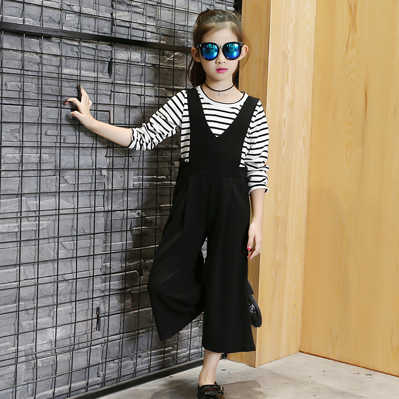Spring Autumn Baby Kids Girl Children Clothes 2Pcs Suit Long Sleeve Striped T Shirt Tops+Wide Leg Strap Pants Girls Clothing Set children s cotton striped t shirt pants cartoon cute kitty cat bow striped long sleeved kt baby girl s clothing set kids clothes