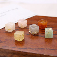 10 pcs korea retro three-dimensional square embedded gold foil resin perforated beads earrings for women diy jewelry accessories
