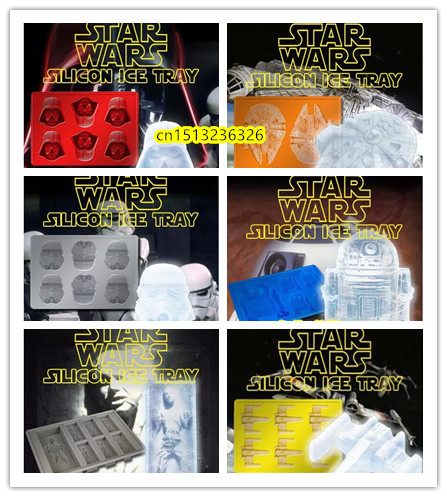 DIY 6pc Star Wars Darth Vader,R2D2,Storm Trooper,,Falcon,X-Wing,Hans Solo Silicone Mold Ice Cube Tray Chocolate Fondant Mould
