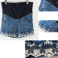 Maternity Denim Shorts Belly Elastic Waist Pants Beading Lace Big Plus Size Cotton pregnancy Women Short w270