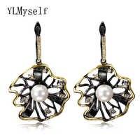 Black earrings simulated pearl dangle bijuteria atacado zirconia hot earring boucles d oreilles femmes crystal classic jewelry