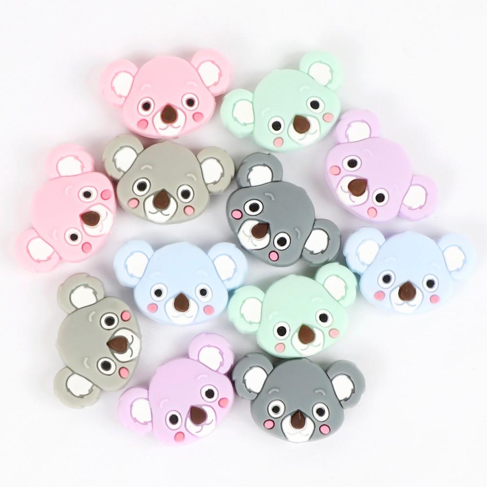 Image 3 - TYRY.HU 50pc Mini Koala Chewable Beads Food Grade Cartoon Silicone Beads Baby Teether Teething Toy DIY Pacifier Clip AccessoriesBaby Teethers   -