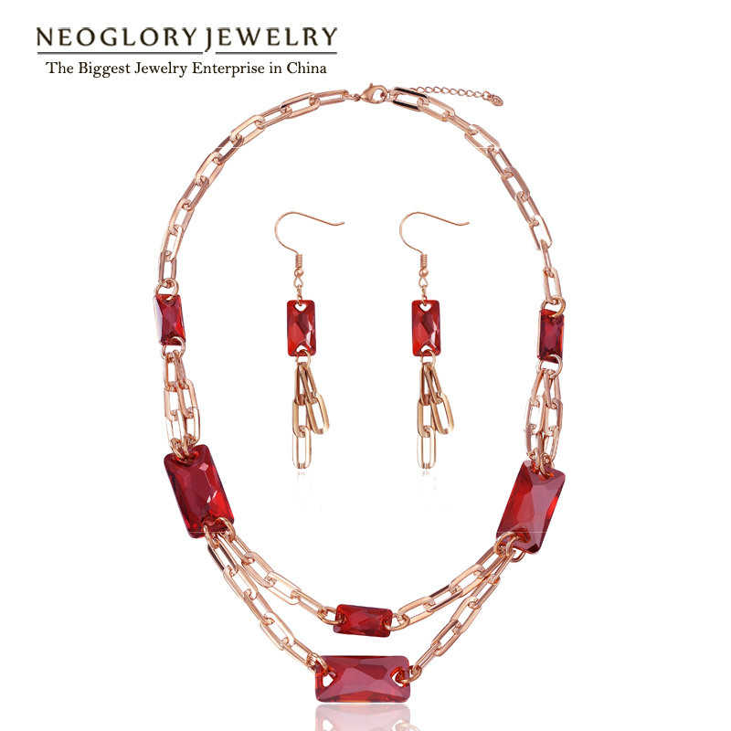 Neoglory Light Yellow Gold Color Multi Layer Necklace Jewelry Set for Women 2018 Gift Embellished with