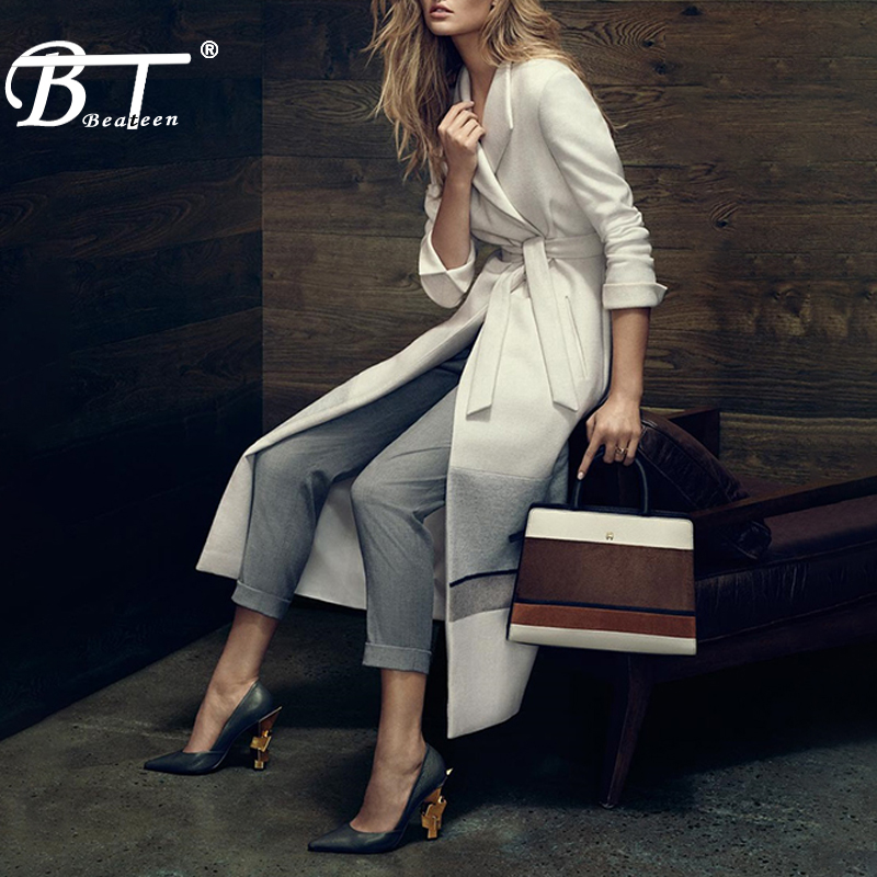 Beateen Sashes Belt Turn Down Collar Women   Trench   Sexy Solid A Line Long Full Sleeve Casual Autumn Women Coat 2018 New