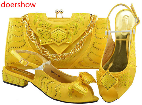 doershow beautiful yellow Italian Shoes With Matching Bags African Women Shoes and Bags Set For Prom Party Summer Sandal !HH1-30 doershow latest african shoes and bag set for party italian fashion women sandal with matching bags set with rhinestones hjn1 12