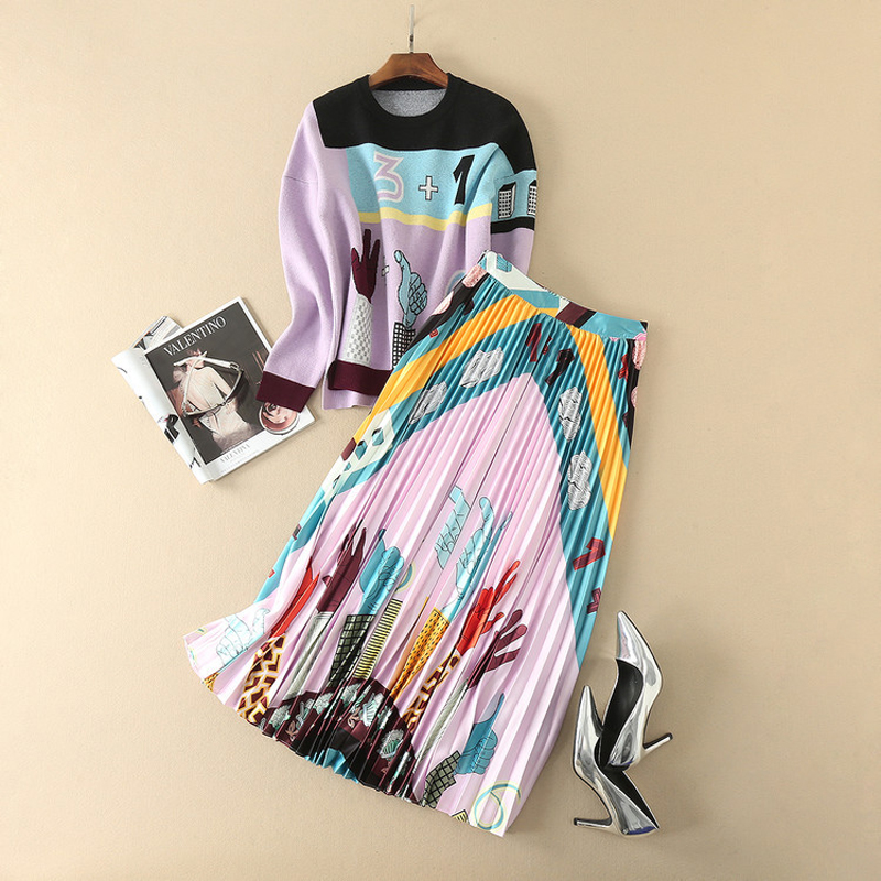 HIGH QUALITY Newest 2018 Designer Runway Suit Set Women's Art Pattern Pullover Sweater Pleated Skirt Set