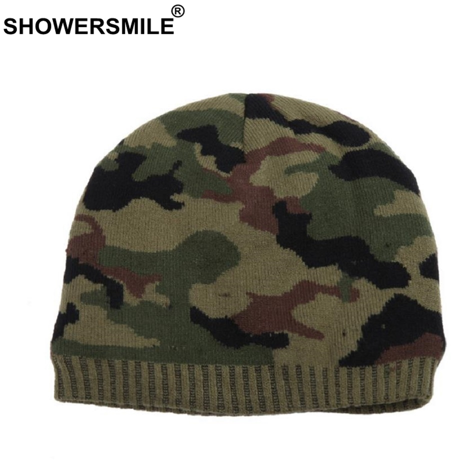 SHOWERSMILE Brand Beanies For Men Skullies Camouflage Knitted Hat Winter Warm Thick Casual Camo Cap Army Green Fashion