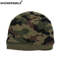 Beanies For Men Skullies Camouflage Knitted Hat Winter Warm Thick Casual Outdoor Ski Cap Army Green Fashion Male Accessories