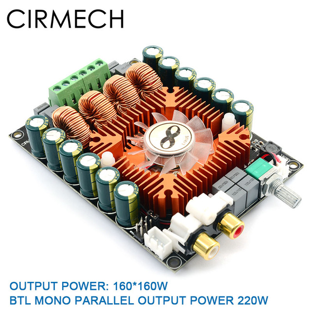 CIRMECH TDA7498E high power digital power amplifier board 2.0 HIFI stereo 160W*2 support BTL220W DC12V-36V