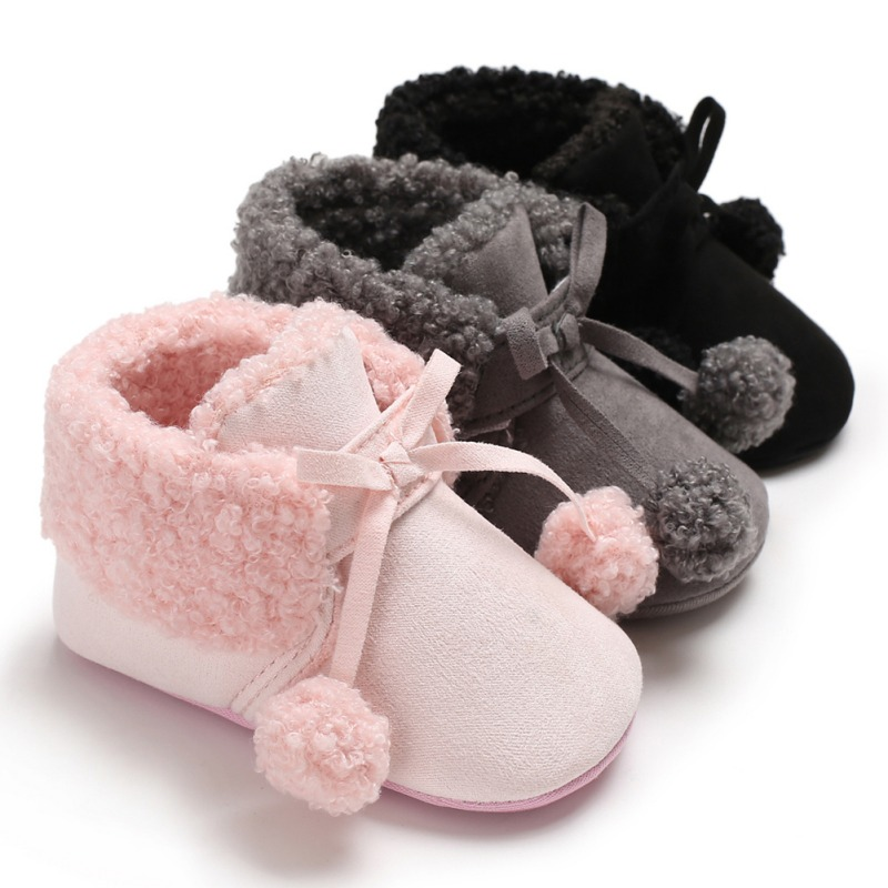 Cute Winter Soft Plush Baby Booties Infant Anti Slip Snow Boots Warm Ball Baby Girl Boy Soft Sole Boots New