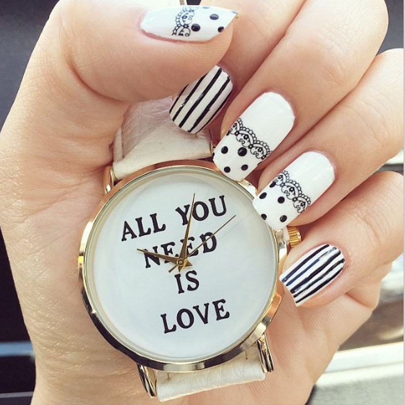 2015 Reloj, Casual Women Men Watch ALL YOU NEED IS LOVE Letter Print Watches Leather Analog Quartz Dial Hour Girls Mujer Clock