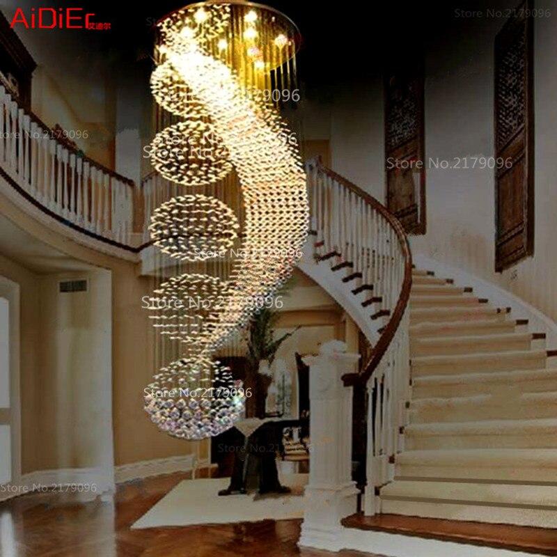 Long double escada moderna lâmpada lustre de cristal LED llights elegante do projeto do hotel Villa salão iluminação fio de suspensão