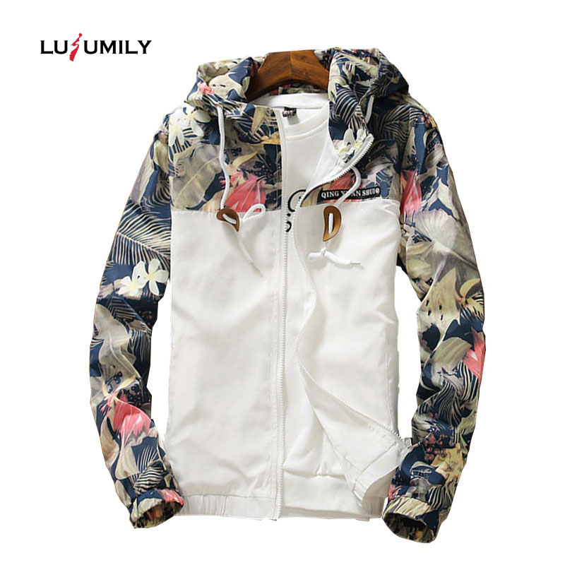 Lusumily Windbreaker Womens Jacket Autumn Plus Size 5XL Causal Zipper Hooded Floral Loose Basic Jacket Coat