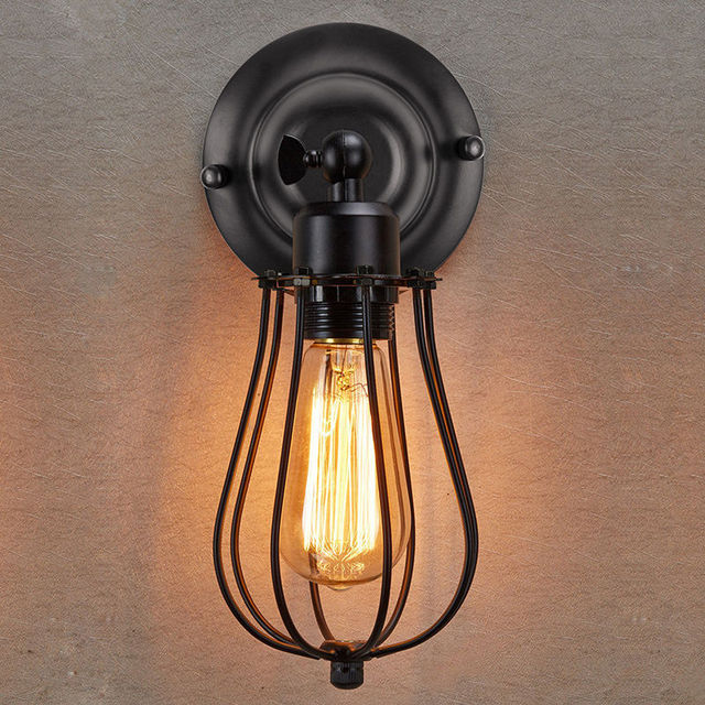 Woxoyozo hot retro industrial wall lamp metal cage edison bulb wall woxoyozo hot retro industrial wall lamp metal cage edison bulb wall mounted light for restaurant dining mozeypictures Choice Image
