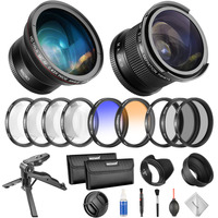 Neewer 58mm Professional Camera Lens and Filter Set Kit with Fisheye Lens+Wide Angle Lens+Filter Kit for Canon Rebel T6i T6s T5i