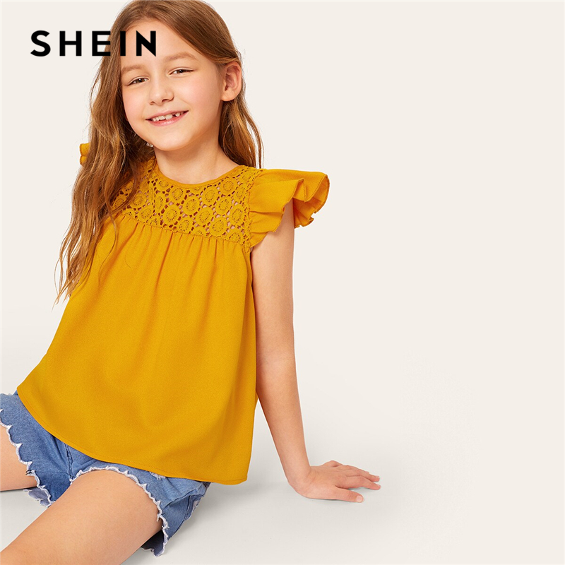 SHEIN Kiddie Ginger Solid Lace Insert Ruffle Armhole Teenagers Cute   Blouse   2019 Summer Butterfly Sleeve Button Kids   Blouse     Shirt