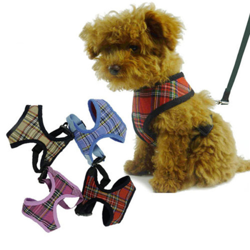 1x Adjustable Soft Mesh Fabric Padded Dog Harness font b Tartan b font Puppy Pet Lead