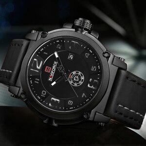 Image 2 - NAVIFORCE 9099 Mens שעונים למעלה מותג יוקרה ספורט קוורץ שעון עור רצועת שעון גברים עמיד למים שעוני יד Relogio Masculino