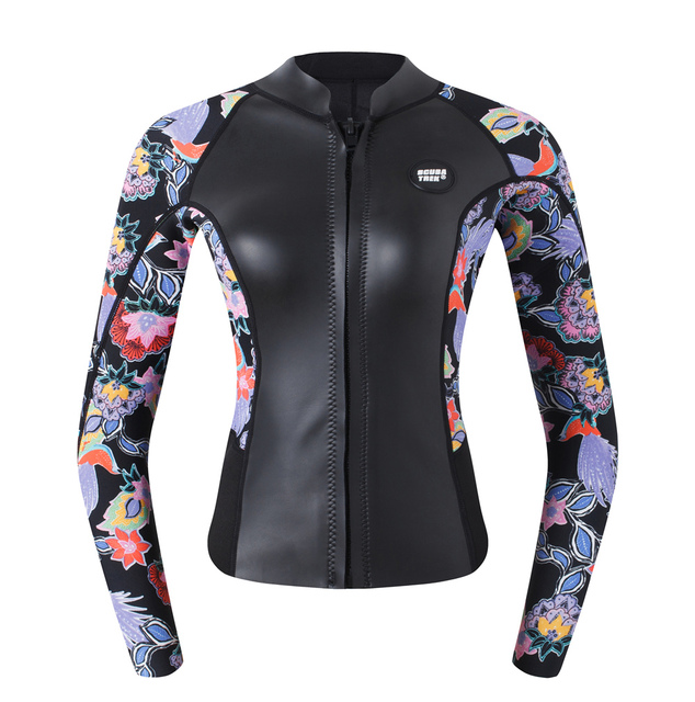 692bc44e19 US $85.0 |Women's Wetsuit Jacket Premium Neoprene 2mm Long Sleeve Front Zip  Wetsuit Top-in Wetsuit from Sports & Entertainment on Aliexpress.com | ...