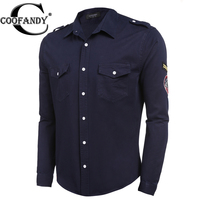 COOFANDY Brand Shirt Men Army Green Embroidered Epaulet Long Sleeve Pocket Button Front Casual Shirt US