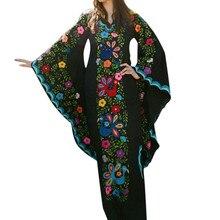Макси Falda Midi Женская винтажная ветряная печать v-образный вырез и юбка-годе рукав с длинным рукавом богемное платье юбки Лето Z4