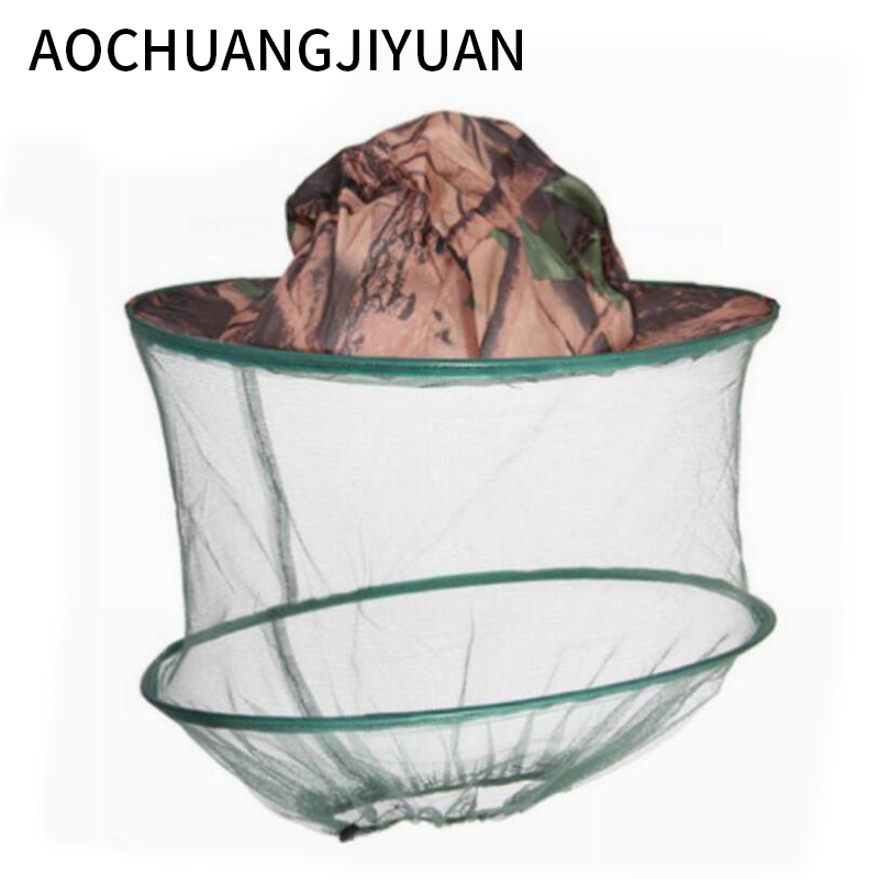 New Camouflage Anti Mosquito Fishing Hat With Net Mesh Head Cover Fisherman Hat Beekeeping Camping Mask Face Protect Caps FO29