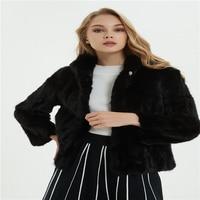 Winter women's fur coat mink fur hooded fur coat short coat