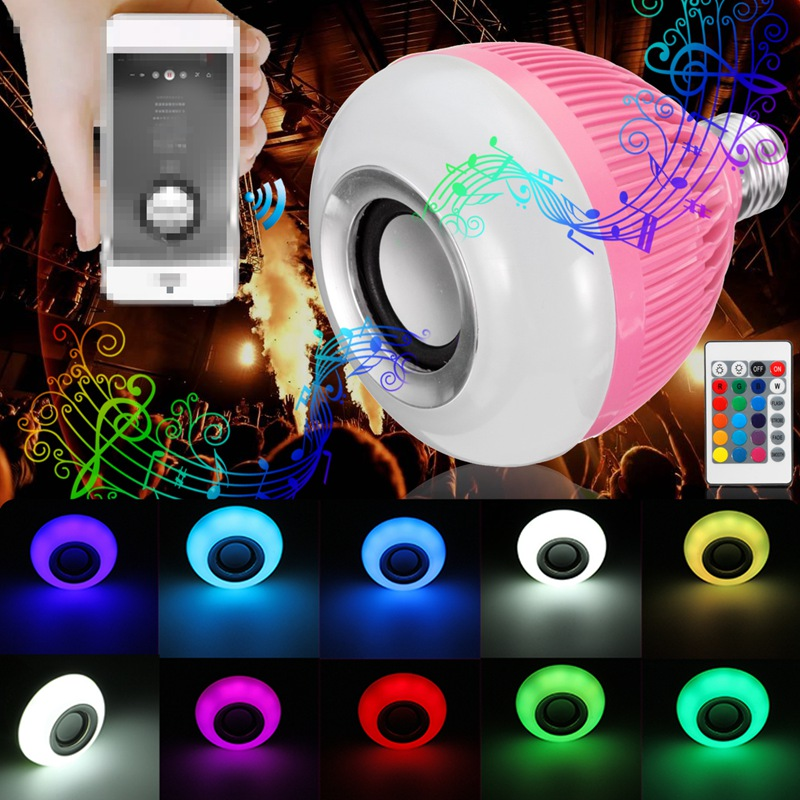 LED Lamp Bulb E27 12W RGB Wireless Bluetooth Speaker Music Smart Home LED Light Bulb With Remote Control AC110-240V smart bulb e27 led rgb light wireless music led lamp bluetooth color changing bulb app control android ios smartphone