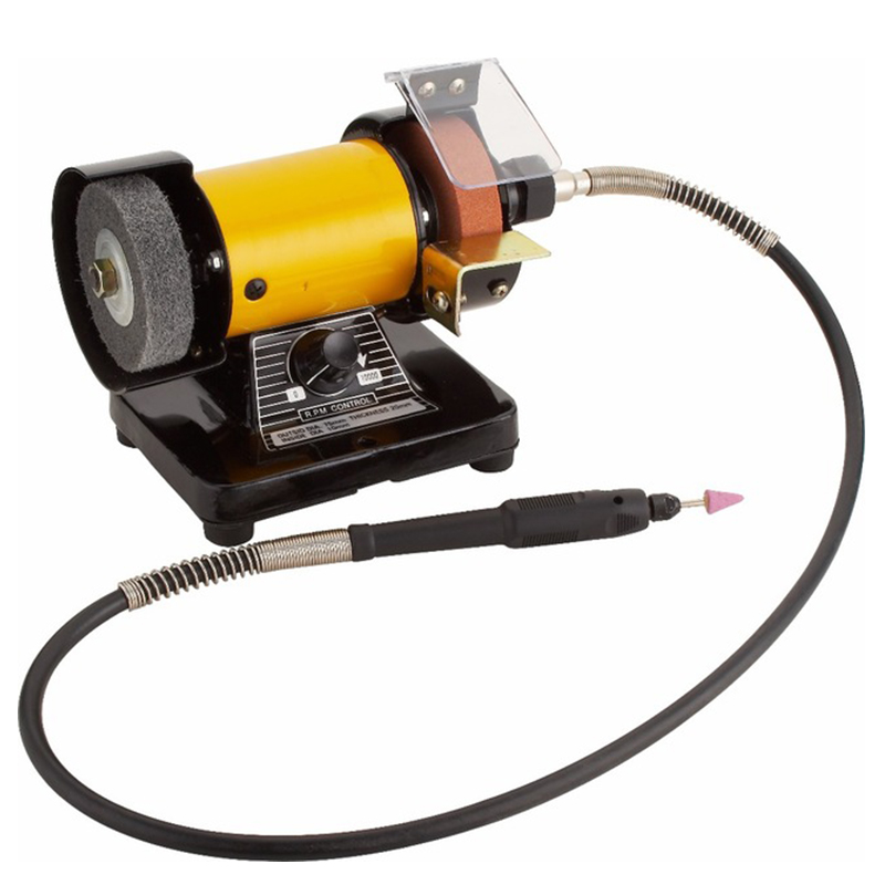 Фотография High Quality Mini Multi Purpose Bench Grinder and Polisher with Flexible Shaft, Tool Rest and Safety Guard