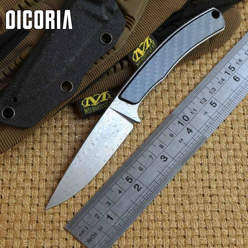 DICORIA MG origin fixed blade Damascus blade straight knife KYDEX Sheath tactical camping hunting outdoor survival EDC tools high quality army survival knife high hardness wilderness knives essential self defense camping knife hunting outdoor tools edc