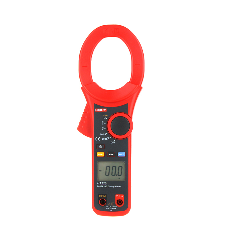 ФОТО UNI-T UT220 LCD Display 2000A Digital Current Clamp Meter Multimeter AC Resistance Data Hold Backlight Multitester China