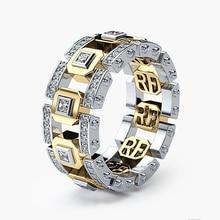 Anillo de acero inoxidable de dos tonos de Color dorado y plateado moderno, joyería de moda para hombre, accesorios para mujer, nuevos accesorios para mujer O5M071