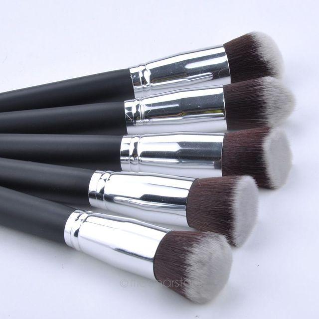 10 Pcs Black + Silver Synthetic Kabuki Makeup Brush Set Cosmetics Foundation Blending Blush Makeup Tool