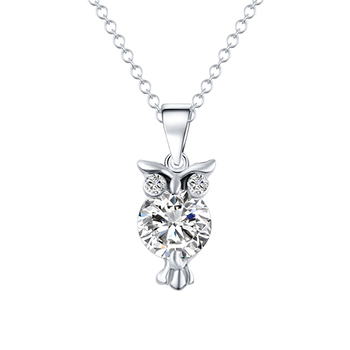 Fashion Owl Shaped Women's Zircon Pendant Necklace Jewelry Necklaces Women Jewelry Metal Color: Silver 32O49