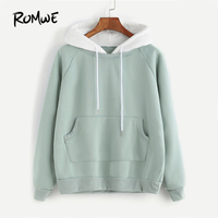 ROMWE Pale Green Patchwork Hoodie Women Raglan Long Sleeve Cute Contrast Hooded Sweatshirt 2017 Fall Pocket